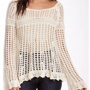 Free People Anthro Crochet Bell Sleeve Top Size S